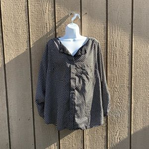 Black and White Print Blouse Pure Energy Size 1X